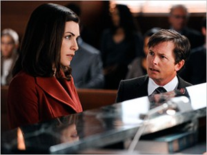 Julianna Marguiles and Michael J. Fox in The Good Wife
