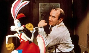 Roger Rabbit and Bob Hoskins in Who Framed Roger Rabbit