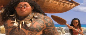 Dwayne Johnson and Auli'i Cravalho in Moana