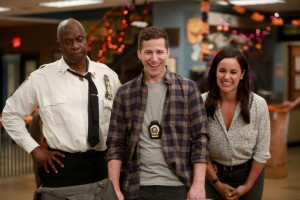 Andre Braugher, Andy Samberg and Melissa Fumero in Brooklyn Nine-Nine