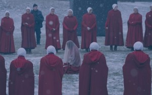 The Handmaids at a ritual in The Handmaid's Tale