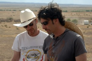 Ethan and Joel Coen on the set of No Country for Old Men