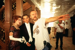 Kate Winslet, Leonardo DiCaprio and James Cameron on the set of Titanic