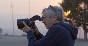 Alfonso Cuarón on the set of Roma