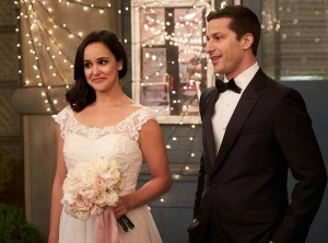 Melissa Fumero and Andy Samberg in Brooklyn Nine-Nine