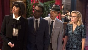 Jameela Jamil, William Jackson Harper, Manny Jacinto and Kristen Bell in The Good Place