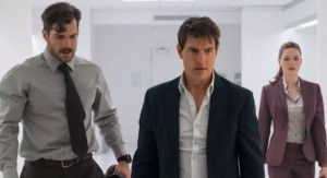 Henry Cavill, Tom Cruise and Rebecca Ferguson in Mission: Impossible – Fallout