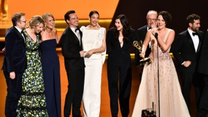 The cast of Fleabag accepting their Emmy